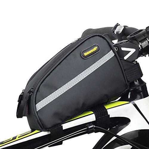 Rhinowalk stuurbuis-fietstas van twill-nylon, waterdicht, hoge capaciteit, voor mountainbikes, vouwfiets, ingang, 17,8 cm, zwart, zwart
