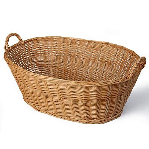 Weidenprofi Weidenkorb, Wäschekorb aus Weide, oval mit Henkel, ca. 73 x 42 cm, 22/27 cm hoch