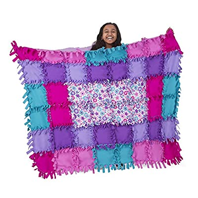 Melissa & Doug Created by Me! Flower Fleece Quilt - The Original (No-Sew Fleece Quilt, Soft Material, 48 Pieces, 5?W × 4?L, Great Gift for Girls & Boys - Best for 6, 7, 8 Year Olds & Up)
