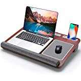 Firares Comfortable Pillow Cushion Home Office Fits 9-17 Inches Lap Desk, Ergonomic Portable Laptop Desk Built in Wrist Rest, Mouse Pad, Tablet and Phone Holder for MacBook, Notebook
