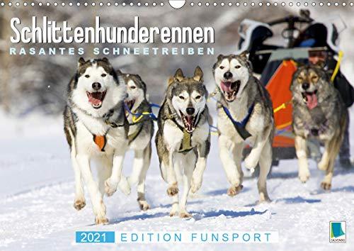 Schlittenhunderennen: Rasantes Schneetreiben - Edition Funsport (Wandkalender 2021 DIN A3 quer)