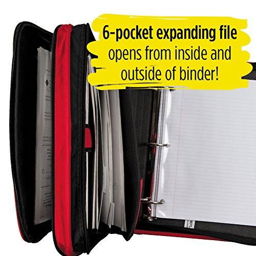 Five Star 2 Inch Zipper Binder, 3 Ring Binder, 6-Pocket Expanding File, Durable, Red (72538) Photo #4