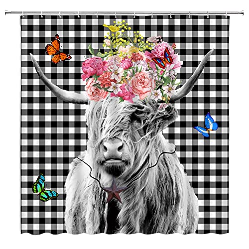 """Highland Cow Bull Shower Curtain Black White Plaid Buffalo Check Western Portrait Animal Vintage Funny Farmhouse Motivational Quote Longhorn Cattle Head Fabric Bath Curtain Set with Hook67""""Wx70""""H"""