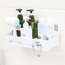 HOME CUBE ABS Plastic Multipurpose Kitchen Bathroom Shelf Wall Holder Storage Rack with Hook Strong Magic Sticker (25 x 11 x 7 cm, Random Colour)