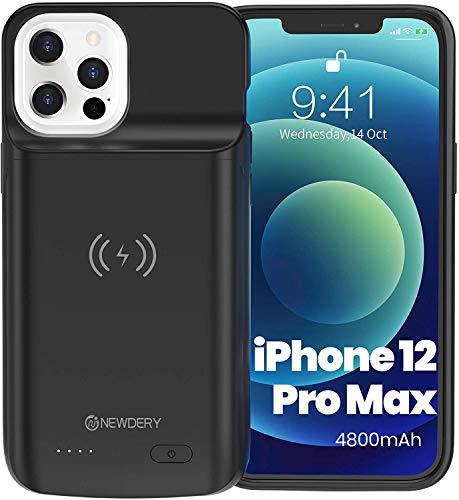 NEWDERY 4800mAh Funda Batería para iPhone 12 Pro MAX Funda Cargador Portatil para iPhone 12 Pro MAX Batería Externa Recargable Carcasa Batería