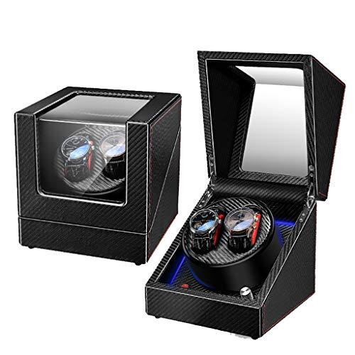Cajas Giratorias Watch Winder Caja de enrollador de Reloj automático, Estuche de Cuero con Almacenamiento, 5 Modos de rotación con Motor silencioso for 2 Relojes de Reloj Giratorio, Regalo