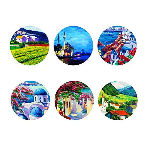 Shinelly D039 Stadset, placemats van vilt, 6-delige set, rond, voor binnen en buiten, afwasbaar en onderhoudsvriendelijk, decoratie voor eettafel in de woonkamer, tuintafel, balkontafel, 9 x 9 cm