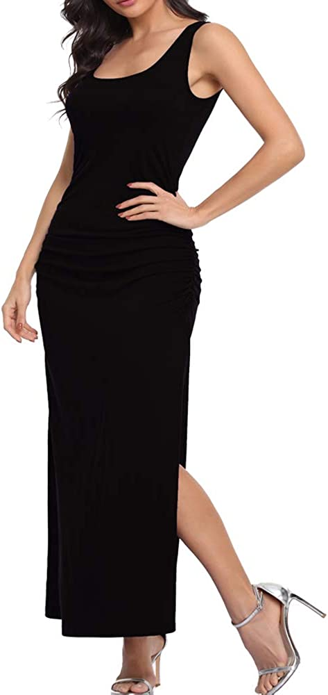 Dilgul Women's Sleeveless Maxi Dress Scoop Neck Ruched Tank Dress Sexy Slit Long Dress