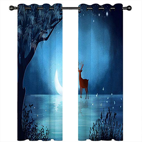 DAPAIZI Curtain,Bedroom Curtains with Eyelet Top,Thermal Window Treatment for Energy Saving, 2 Panels. (photo-2,1.5x1.66m)