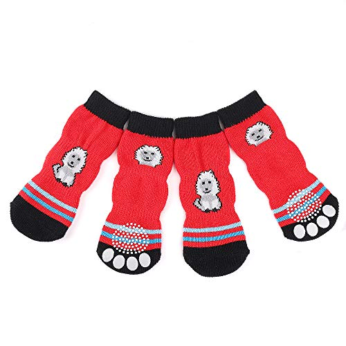 Dog Socks Non-slip Pet Cat Socks with Rubber Reinforcement Knit Three Sections Long Socks for Dogs with Traction Soles Small Medium Large Dogs Paw Protector for Indoor Wear, 4PCS (XL, Red)