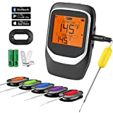 COMLIFE Digital Meat Thermometer, Bluetooth Wireless Cooking Food Thermometer with 6 Probes & Clip,...
