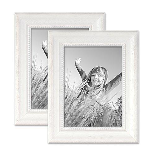 Photolini 2er Set Bilderrahmen Landhaus-Stil Weiss 13x18 cm Massivholz mit Glasscheibe und Zubehör/Fotorahmen