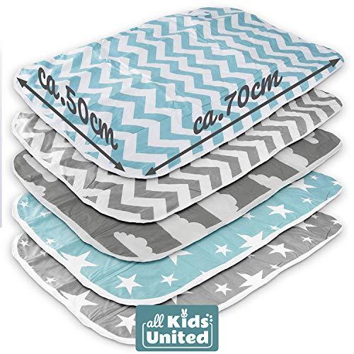 Cambiador para bebé, manta para bebés y niños pequeños, transpirable, lavable, reutilizable, 50 x 70 cm (juego de 5)