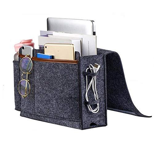 Betttasche Caddy Remote Bedside Storage Control Holder Organizer mit Flaschenhalter Insert Matratze für TV-Fernbedienung, Telefon-B.