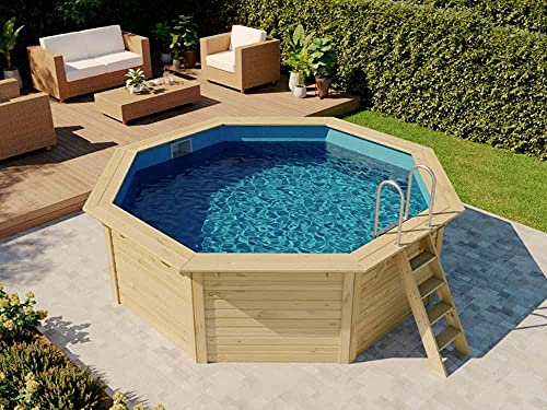 POOLCREW Holz Pool 8 Eck Rund aus Massivholz, Swimmingpool, Schwimmbecken, Aufstellpool inkl. Leiter und Folie 400 x 400 x 124 cm