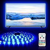 Ruban LED TV 2.2M RGB USB 5050 Bande LED 16 Couleurs et 4 Modes Rétroéclairage TV, Bande Lumineuse Etanche avec Télécommande pour 40-60 Inch TV, PC, Monitor, Fête
