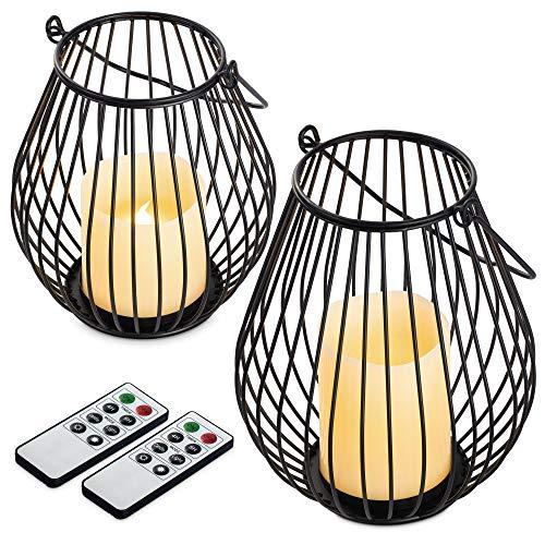 Navaris Metall Kerzenhalter mit LED Wachskerze Set und Fernbedienung - dimmbar - Timer Flacker Effekt - Kerzenständer mit LED Kerze - Größe S und M