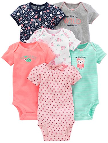 Simple Joys by Carter's - Body de manga corta para niña (6 unidades) ,rosado/menta ,18 Meses