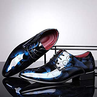 Business Men's Dress Shoes Fashion England Large Size Shoes Colorful Casual Shoes 37-50,Blue,46