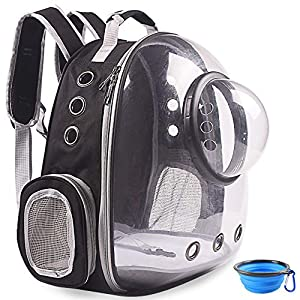 BEIKOTT Cat Backpack Carriers, Pet Bubble Backpack for Cats Puppy Dogs and Birds, Premium Leather Cat Backpack, Airline-Approved, Ventilate Transparent Capsule Carrier for Travel/Hiking/Outdoor Use