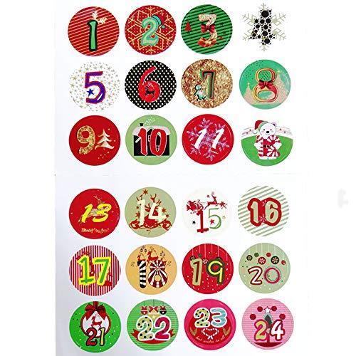 Sinwind - 24 Etiquetas Brillantes para Navidad, Calendario de Adviento, número de Pegatinas, Colores Vintage, Etiquetas para Regalos, Hornear, decoración, Navidad, artesanía, Navidad, números