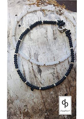 Schickes Armkettchen, Armband aus Rocailles in schwarz oder weiss, Geschenk, Freundschaft, Sommerschmuck