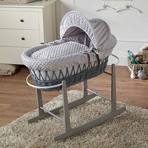 FYLO Grey Dimple Grey Wicker Moses Basket with Grey Rocking Stand