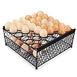 Flexzion Egg Storage Basket, 2 Tier Wire Basket w/Top Chicken Egg Tray Shelf 36 Eggs Display Stand Metal Wire Basket Holder Countertop Organizer Box Rack for Farmhouse Rustic Kitchen Counter Skelter