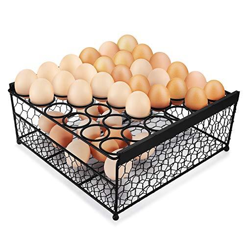 Flexzion Eierbehälter für 36 Eier, rutschfester Aufbewahrungskorb aus Metall für Eier, 2 Schichten Aufbewahrungsbox Eierständer für Lebensmittel Bauernhaus Zuhause Küche Kühlschrank Restaurant
