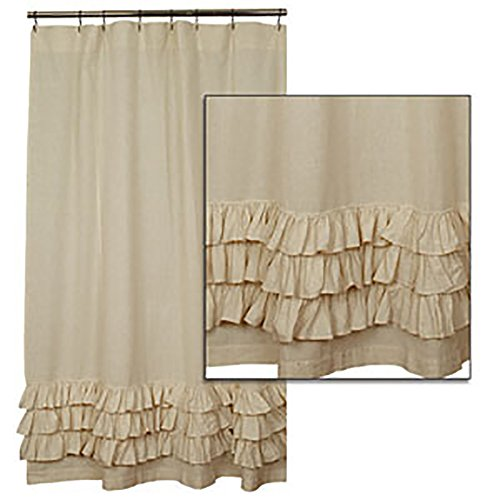 """Flax Ruffled Shower Curtain By the Country House Collection, 72"""" X 72"""""""