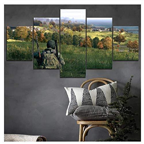 ZKPWLHS Leinwanddrucke DayZ Soldat 5 Stücke Anime Poster Wandkunst Hd Print Spiel Bild Moderne Dekoration Leinwand Malerei (B) Mit Rahmen