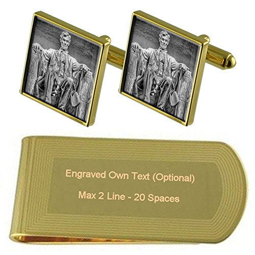 Select Gifts Abraham Lincoln Tono Oro Gemelos Money Clip Grabado Set de Regalo