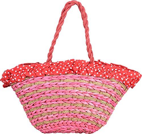 Damen Handtasche Raffia Vintage Bast Korbtasche Rot
