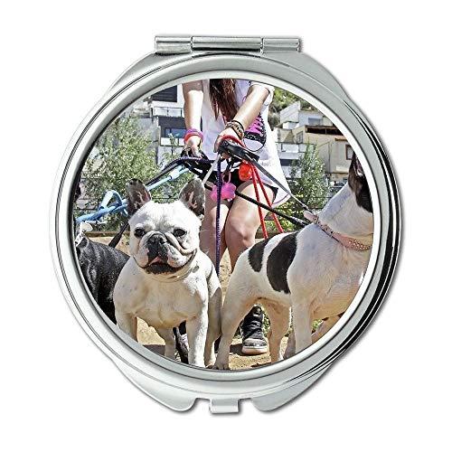 Yanteng Spiegel, Kleiner Spiegel, Hund Chihuahua Welpe Pitbull Hund, Taschenspiegel, 1 X 2X Vergrößerung