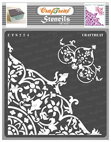 CrafTreat Corner Stencils for Painting on Wood, Wall, Tile, Canvas, Paper and Floor - Flourish Corner - 12x12 Inches - Reusable DIY Art and Craft Stencils - Floral Stencil - Floral Drawing Template
