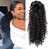 Eveelfs Graceful Afro Black Kinky Curly Ponytail with 2 Clips-Natural Looking As Human Hair-Afro Puff Drawstring Ponytail for Black Women -Short Afro Curly Extensions(black 1b)