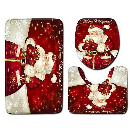 CHZHONG Fundas de Asiento de Inodoro navideño WC Asiento Inodoro Fundas 3 Unidades Accesorios Navidad decoración para el hogar, Hotel, Edificio Comercial,A