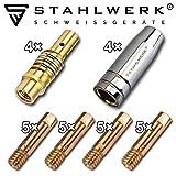 STAHLWERK MIG MAG Schweißzubehör AK-15/MB-15 Verschleißteile, Gasdüsen Düsenträger Stromdüsen für MIG MAG Schweißbrenner, Set 28-teilig