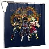 GSEGSEG Cortina de ducha de tela de poliéster impermeable con diseño de Dragon Ball Z Goku, impresión de ropa oscura, cortina de baño decorativa con ganchos, 182,88 x 182,88 cm