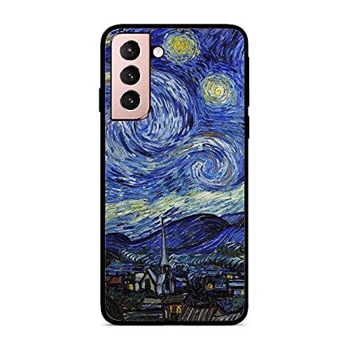 NDSXTLCA Case for Samsung Galaxy S21, Kiss Gustav-Klimt Van-Gogh Painting 3 Black Soft Thin Silikon Flexible Anti-Shock Coque