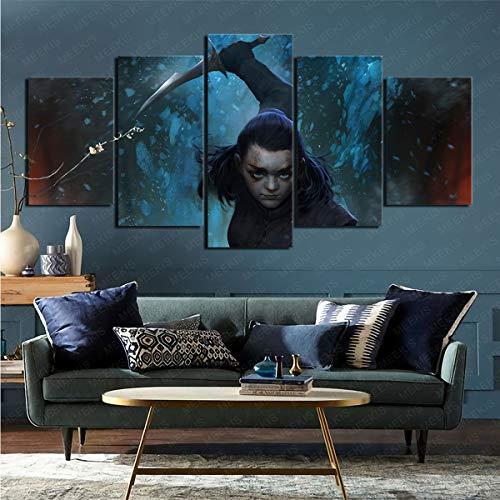 mmkow Impresión sobre lienzo de 5 piezas de la serie de televisión Juego de Tronos, obra de arte para el hogar, 100 x 200 cm (enmarcado)