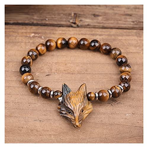 JIAQ Redondo Piedra Natural Mala Beads Yoga Bracelet.Tiger Ojo Piedra Pavimentado Fox Cabeza Hecho A Mano Pulsera Elástica Curación Joyería
