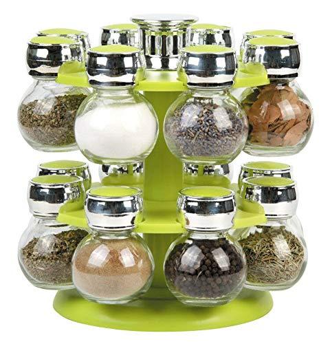 Durable tool Gewürzregal, drehbar, für 16 Gläser, Chrom-Deckel, Violett/Schwarz/Grün grün