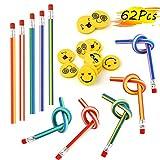FEPITO 62 Stücke Bleistifte Kinder, 32 Stücke Radiergummi Kinder und 30 Stücke Biegebleistifte Kleines Geschenk Mitgebsel und Spielzeug für Kinder