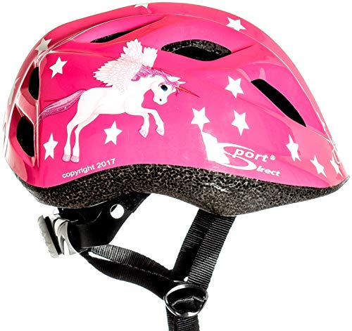 Casco de bicicleta para niña Flying Unicorn, color rosa con dibujos de unicornio, de Sport Direct, certificado CE EN1078: 2012 y A1:2012 (48 - 52 cm)