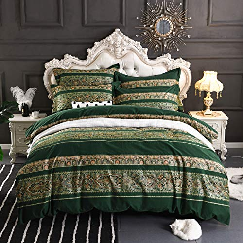 USTIDE Bohemian Exotic Style Boho Duvet Quilt Covers Sets Green Bedding Set 100% Cotton Bedding Set King Size