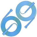 munloo 2 Piezas Cuerda Saltar, Cuerda de Velocidad para Fitness y Pérdida de Peso, Deporte y Ocio -3 Metros de Tamaño Ajustable (Azul)