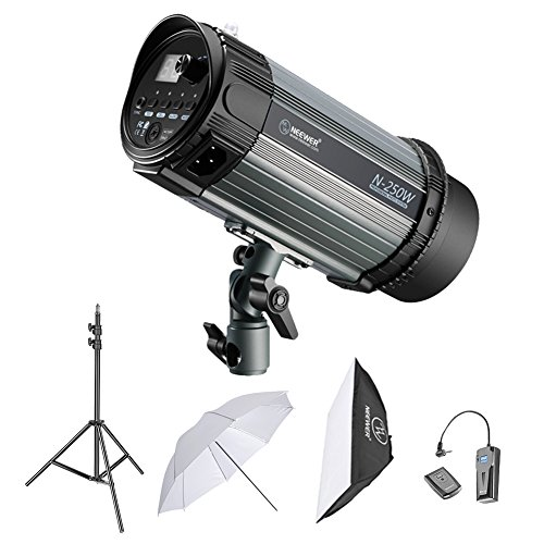 "Neewer 250W Studio Strobe Flash Fotografico :(1) Monoluce, (1) 6.5 piedi Luce Stand, (1) Softbox, (1) RT-16 Set di Trigger Wireless, (1) 33 "" Ombrello per Video Location e Ritratto Shooting"