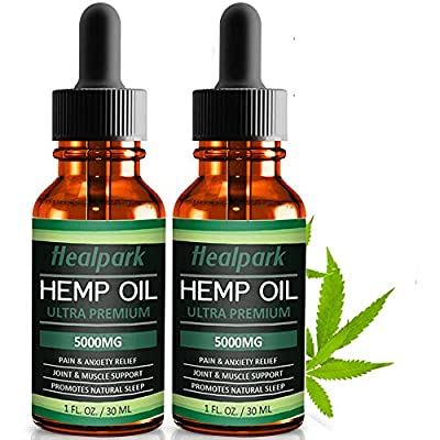 (2 Pack) Hemp Oil 5000mg for Pain Relief Anxiety - 100% Natural Organic Hemp Seed Extract, Rich Omega 3,6,9- Zero THC CBD Cannabidiol - Pure Hemp Oil Drops from Healpark