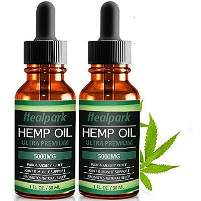 (2 Pack) Hemp Oil 5000mg for Pain Relief Anxiety - 100% Natural Organic Hemp Seed Extract, Rich Omega 3,6,9- Zero THC CBD Cannabidiol - Pure Hemp Oil Drops from Healpark